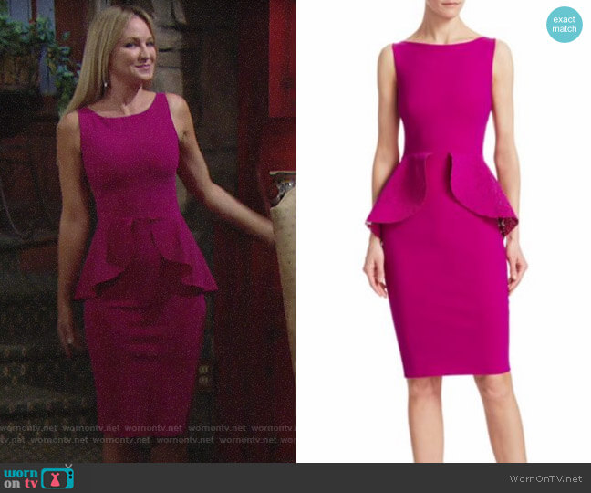 Chiara Boni La Petite Robe Sleeveless Peplum Dress worn by Sharon Collins (Sharon Case) on The Young & the Restless
