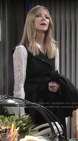 Christine's white lace sleeve blouse on The Young and the Restless