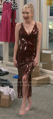 Christy/Jill's red fringed sequin dress on Mom