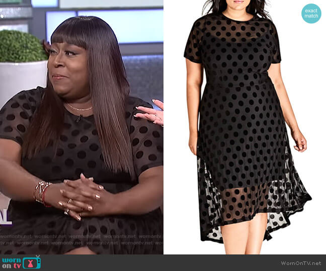 Loni's black polka dot dress on The Real