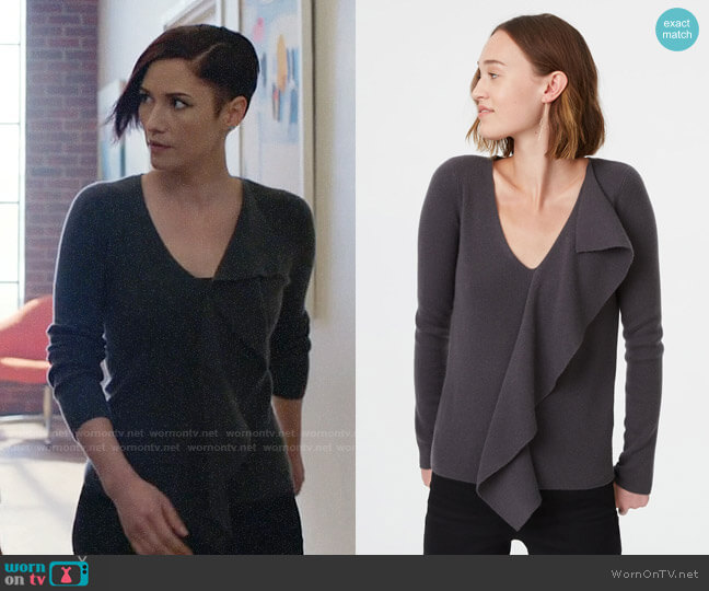 Alex's grey ruffled front sweater on Supergirl