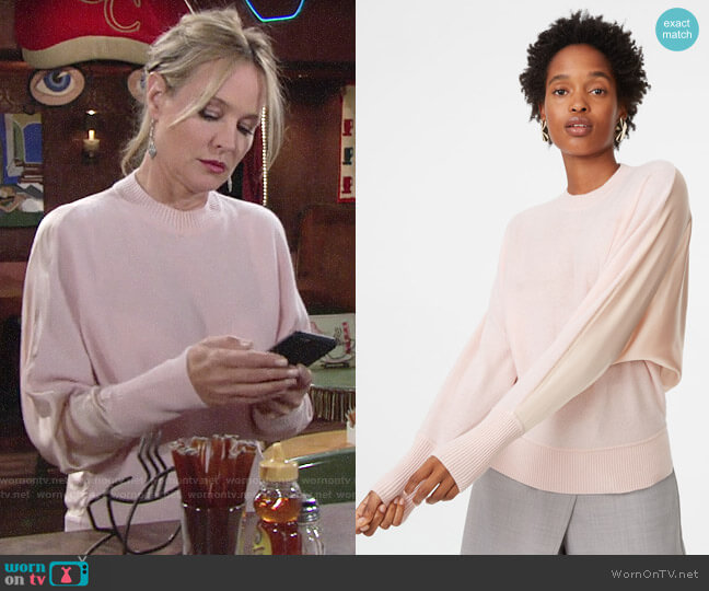 Club Monaco Lorenny Sweater in Flamingo worn by Sharon Collins (Sharon Case) on The Young & the Restless