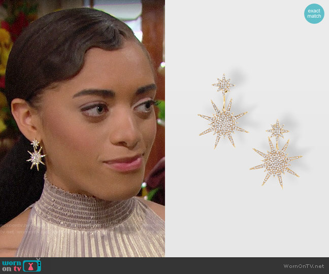 Serafina Starburst Earrings worn by Zoe (Kiara Barnes) on The Bold & the Beautiful