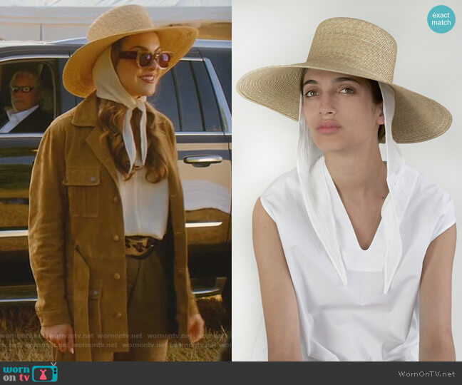 Wide Brim Flat Hat w Neck Shade by Clyde World worn by Fallon Carrington (Elizabeth Gillies) on Dynasty