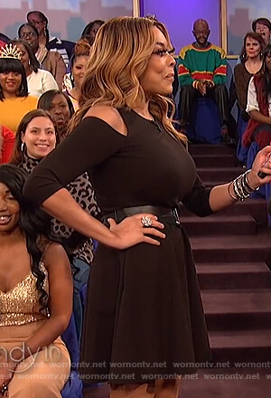 Wendy's black cold shoulder dress on The Wendy Williams Show