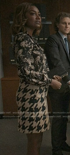Daisy's floral blouse and houndstooth skirt on Madam Secretary