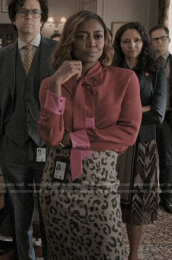 Daisy's red and pink blouse and leopard print skirt on Madam Secretary
