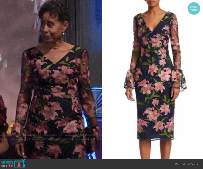 David Meister Floral Embroidered Bell-Sleeve Sheath Dress worn by Stella Henry (Vernee Watson) on General Hospital