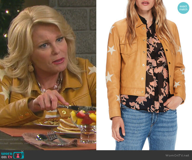 Sheepskin Leather Shirt Jacket by Scotch & Soda worn by Bonnie Lockhart (Judi Evans) on Days of our Lives