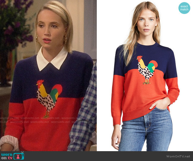 Mandy's rooster sweater on Last Man Standing