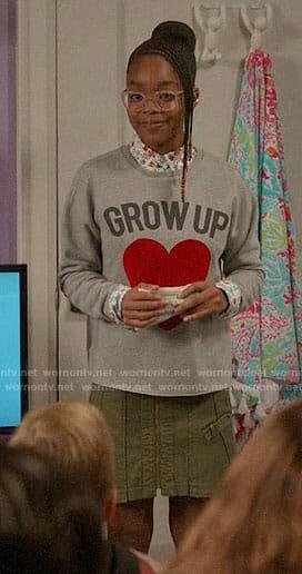 Diane's GROW UP heart sweatshirt on Black-ish