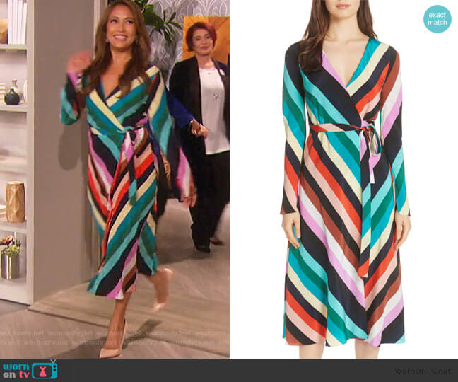 Stripe Silk Wrap Midi Dress by Diane von Furstenberg worn by Carrie Inaba  on The Talk