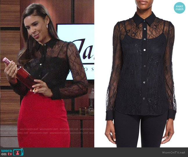 Diane von Furstenberg Mariah Lace Shirt worn by Kerry Johnson (Alice Hunter) on The Young & the Restless