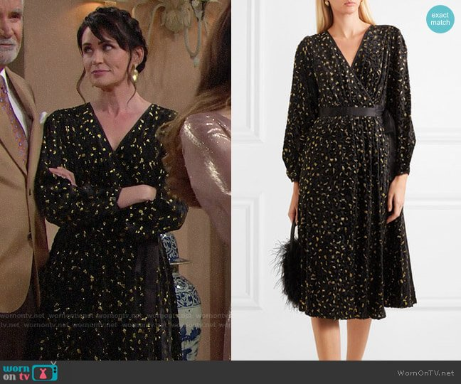 Diane von Furstenberg Metallic Flocked Dress worn by Quinn Fuller (Rena Sofer) on The Bold & the Beautiful