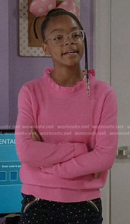 Diane's pink ruffle neck sweater on Black-ish