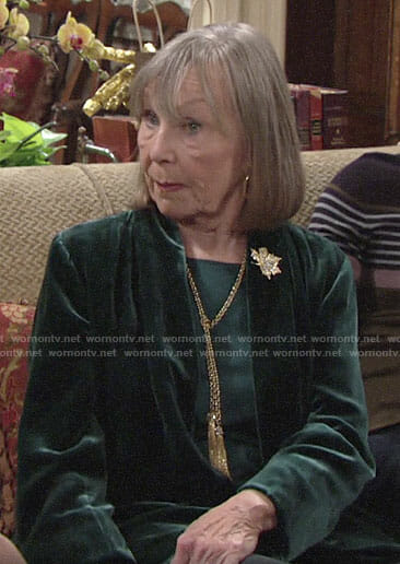 Dina's green velvet jacket on The Young and the Restless
