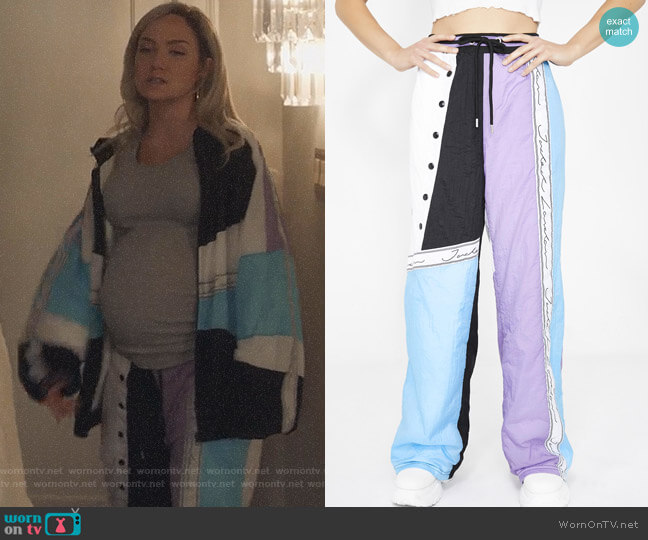 Sky Crinkly Paneled Joggers by Jaded London  worn by Star Davis (Jude Demorest) on Star