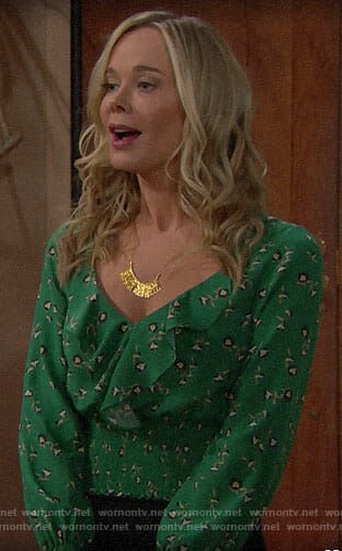 Donna's green ruffled top on The Bold and the Beautiful