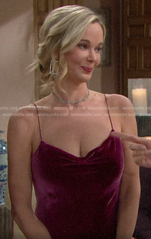 Donna's pink velvet Thanksgiving dress on The Bold and the Beautiful