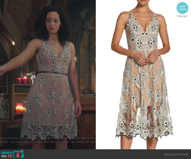 Dress the Population Audrey Lace Midi Dress worn by Macy Vaughn (Madeleine Mantock) on Charmed