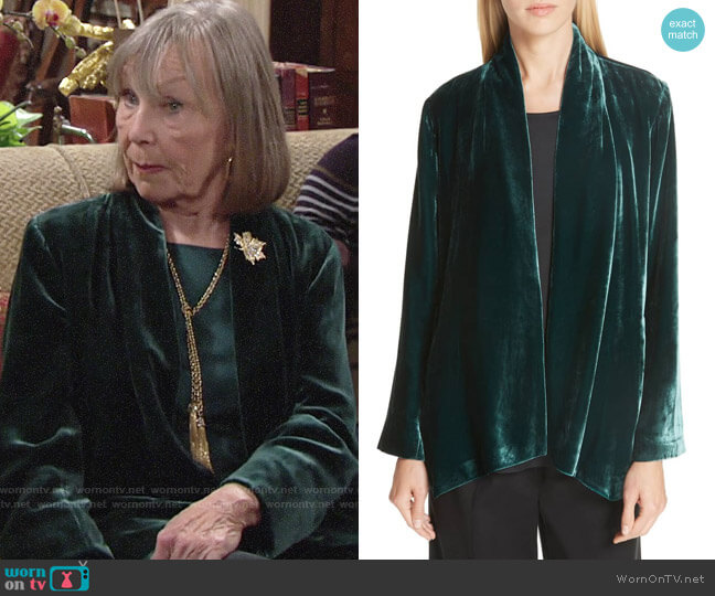 Eileen Fisher Angled Front Velvet Jacket worn by Dina Mergeron (Marla Adams) on The Young & the Restless