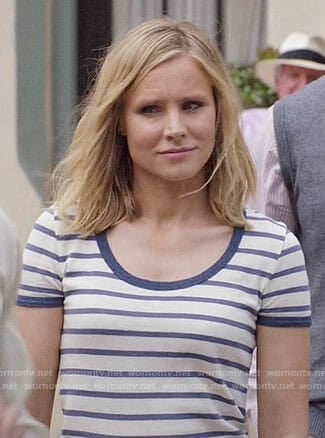 Eleanor's blue striped ringer tee on The Good Place
