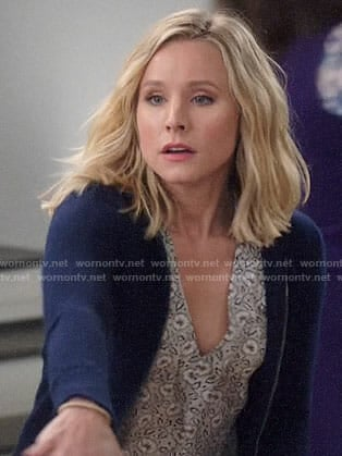 Eleanor's grey floral v-neck top on The Good Place
