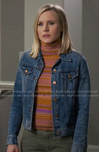 Eleanor's orange striped turtleneck and denim jacket on The Good Place