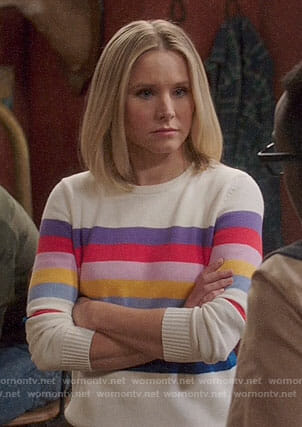 Eleanor's rainbow striped sweater on The Good Place