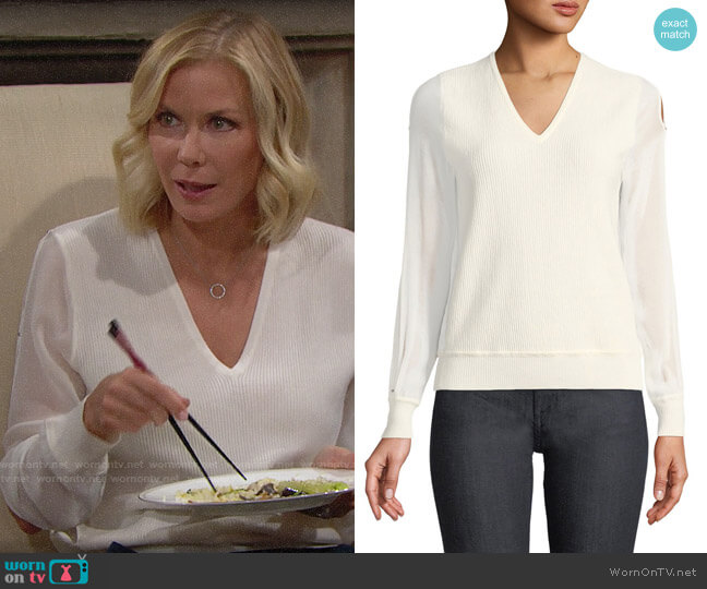 Elie Tahari Maria Sweater worn by Katherine Kelly Lang on The Bold & the Beautiful