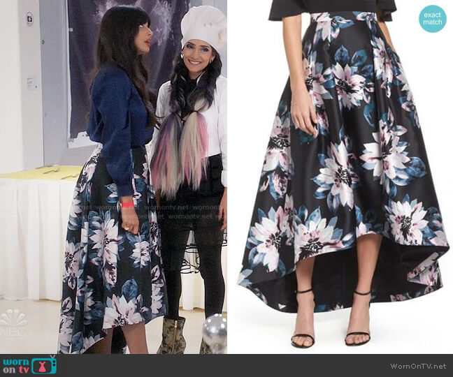 Eliza J Floral High Low Skirt worn by Jameela Jamil on The Good Place