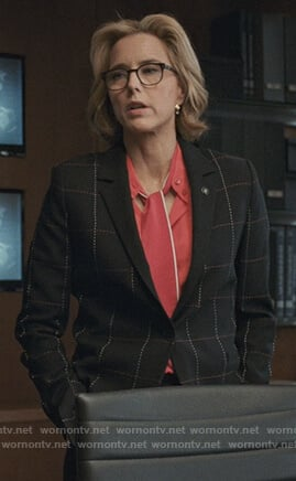 Elizabeth's black checked blazer on Madam Secretary