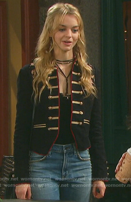 Claire's black military jacket on Days of Our Lives