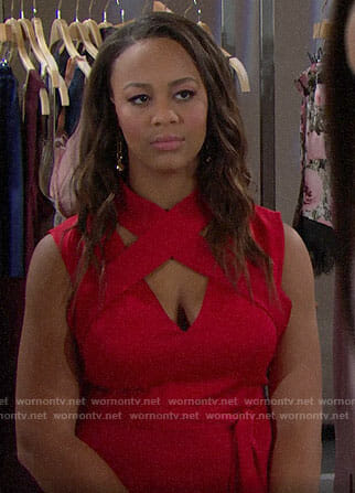 Emma's red criss-cross top on The Bold and the Beautiful