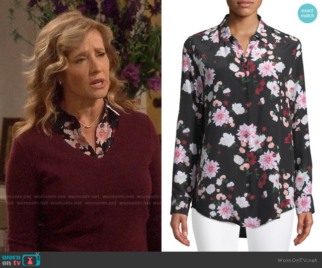 Equipment Essential Floral Silk Shirt worn by Vanessa Baxter (Nancy Travis) on Last Man Standing