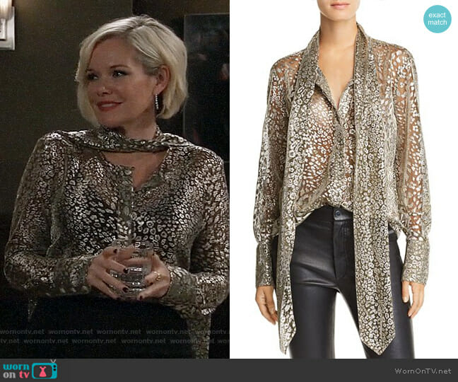 6cc1346af8be4 Equipment Luis Metallic Tie-Neck Shirt worn by Ava Jerome (Maura West) on