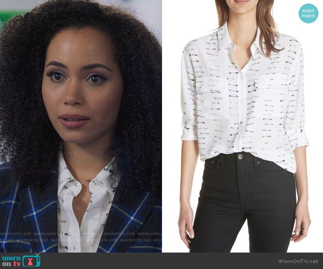 Equipment Signature Button-Down Silk Shirt worn by Macy Vaughn (Madeleine Mantock) on Charmed