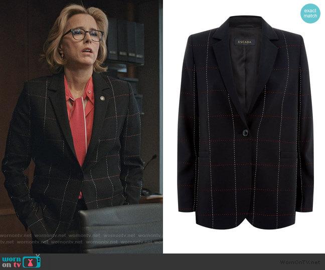 Escada Checked Blazer worn by Elizabeth McCord (Téa Leoni) on Madam Secretary