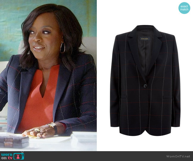 Escada Checked Blazer worn by Viola Davis on HTGAWM