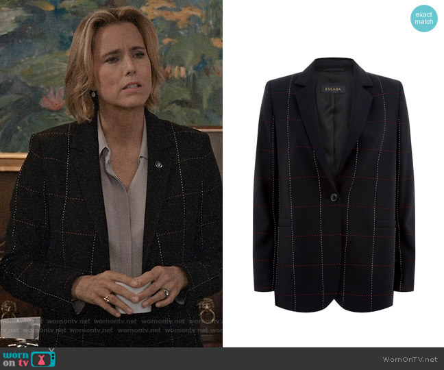 Escada Checked Blazer worn by Téa Leoni on Madam Secretary