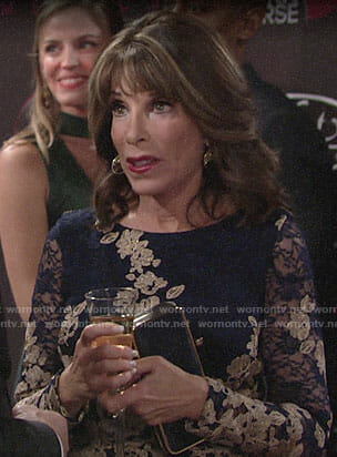 Esther's navy and gold lace dress on The Young and the Restless