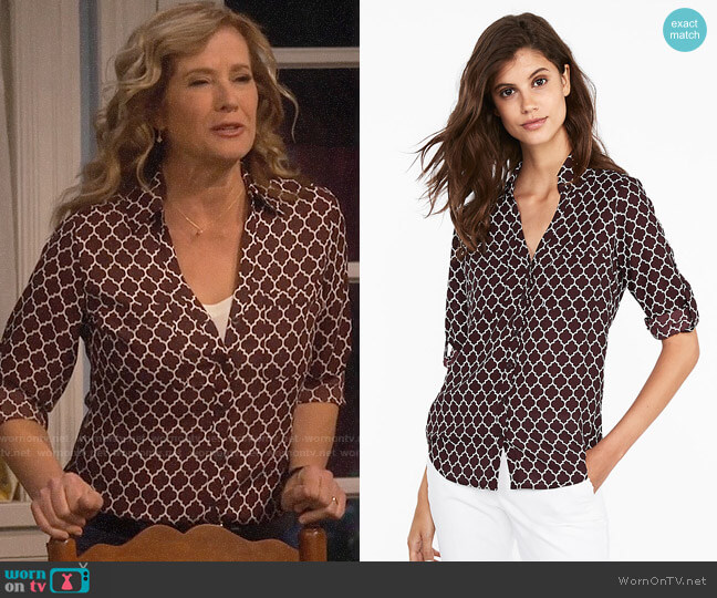 Express Slim Fit Quarterfoil Portofino Shirt worn by Vanessa Baxter (Nancy Travis) on Last Man Standing