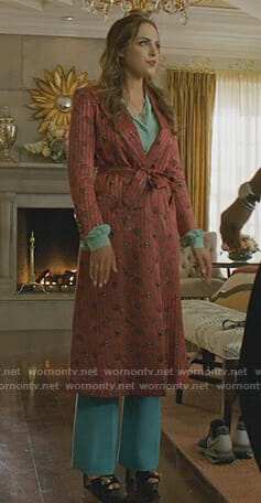 Fallon's red printed striped coat and flared pants on Dynasty