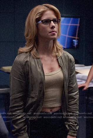 Felicity's cropped tank top and green bomber jacket on Arrow