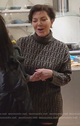 Kris's Fendi logo turtleneck sweater on Keeping Up with the Kardashians