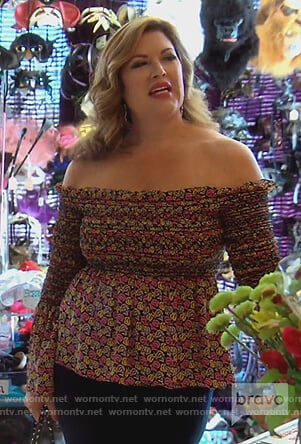 Emily's floral off shoulder top on The Real Housewives of Orange County