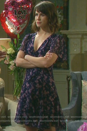 Sarah's purple floral tie front dress on Days of Our Lives