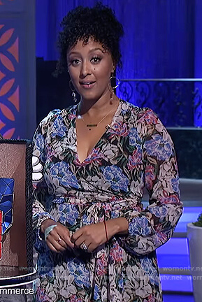 Tamera's floral print wrap dress on The Real