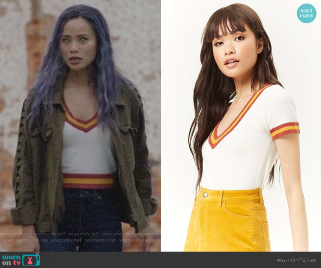 Sweater-Knit Varsity Striped Top by Forever 21 worn by Clarice Fong (Jamie Chung) on The Gifted