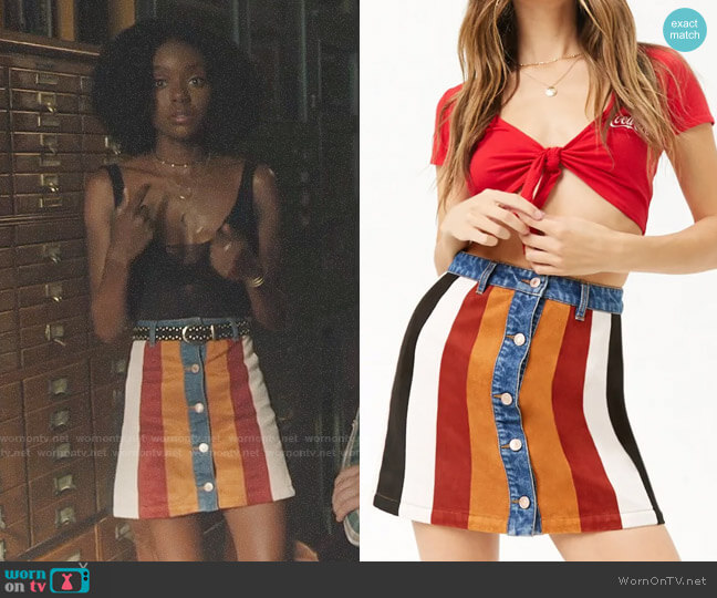 Forever 21 Faux Suede & Denim Button-Front Skirt worn by Josie McCoy (Ashleigh Murray) on Riverdale